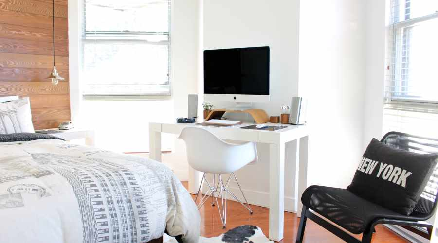 Bedroom and office in one space